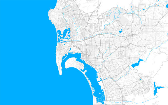 Rich detailed vector map of San Diego, California, U.S.A.