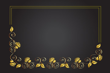 Gold roses frame greetings card template