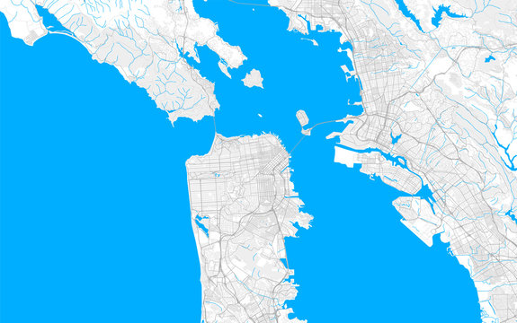 Rich detailed vector map of San Francisco, California, U.S.A.