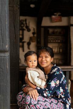 A Nepali woman with her baby, Nuwacot, Nepal