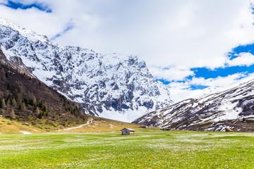 Lonely hut in Val Radons (Radons Valley), Albula region, Canton of Grisons (Graubunden)