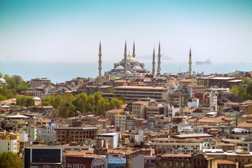Suleymaniye Mosque, UNESCO World Heritage Site, seen from a helicopter, Istanbul, Turkey, Europe