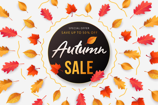 Autumn Sale background, banner, poster or flyer design. Vector illustration with frame made of bright beautiful leaves and lettering word Autumn. Template for advertising, social and fashion ads.