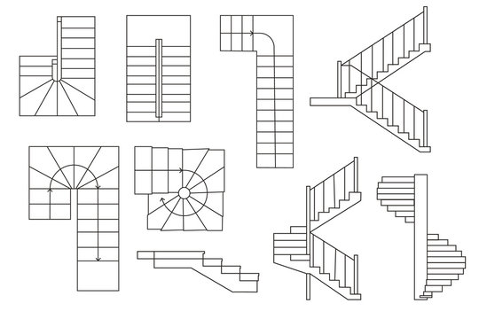 Drawing stairs, stairway. . Top view and sectional view. Architectural set