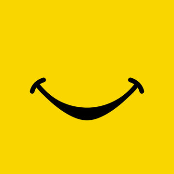 Smile emoticon show mouth on yellow background. Yummy emoji tasty or hungry smile. Vector illustration.