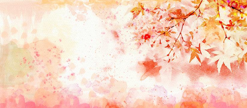 Autumn watercolor background. Design element