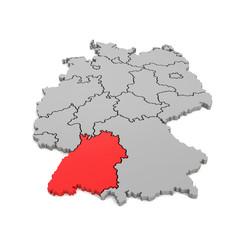 3d Illustation - Deutschlandkarte in grau mit Fokus auf Baden-Württemberg in rot - 16 Bundesländer