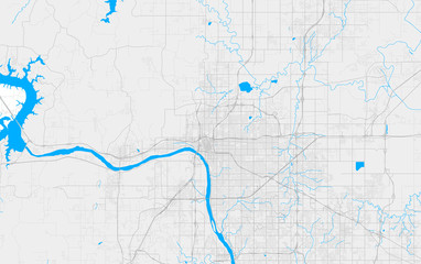 Fototapeta Rich detailed vector map of Tulsa, Oklahoma, U.S.A. obraz