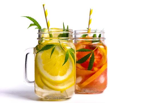 Grapefruit and lemon juice with marijuana in a glass