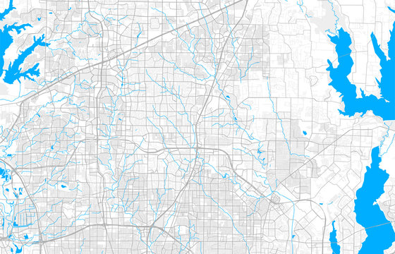 Rich detailed vector map of Plano, Texas, U.S.A.