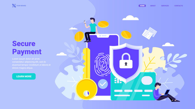 Secure payment, personal information security, account protection design concept for landing page. Flat vector illustration with tiny characters for landing page, web site, banner, hero image