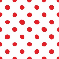 Tile vector pattern with hand drawn red polka dots on white background