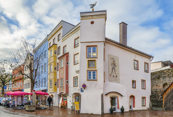 Fototapete - Street in Wasserburg am Inn, Germany