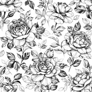 Seamless Pattern with Hand Drawn Rose  Flowers