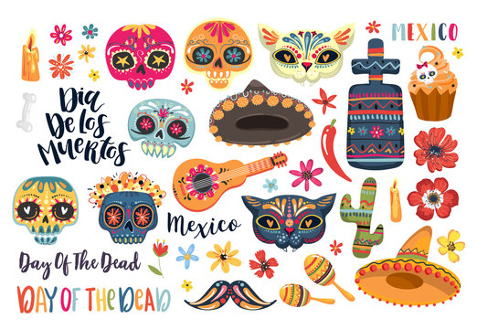 Set of elements for Day of the Dead. Dia de los Muertos tramslate - Day of the Dead . Vector EPS10
