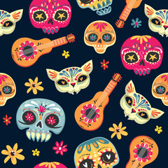 Foto op Canvas Aquarel Schedel Day of the Dead seamless vector pattern with sugar skulls and flowers. Dia de los Muertos tramslate - Day of the Dead pattern background. Vector EPS10