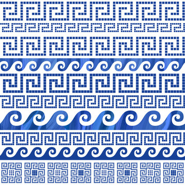 Dark blue Greek meander ornaments on a white background. Baroque silk textile seamless pattern print, Batik ethnic ornament, wallpaper, wrapping paper. There are 6 pattern brushes in the palette