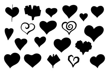 Vector stylized sketch hearts silhouette set
