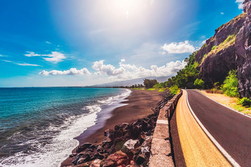 Departmental road A of the west coast of the island of Reunion. Viewpoint near the Cave of the English Park.