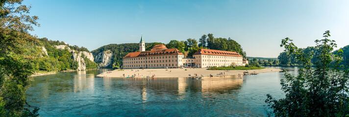 Panorama view on Weltenburg Abbey - Kloster Weltenburg. This landmark is a Benedictine monastery in Weltenburg in Kelheim on the Danube in Bavaria, Germany. Fototapete