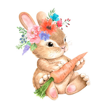 cute bunny with a flower on his head and a carrot, watercolor illustration