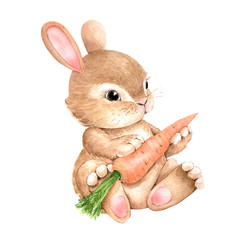 cute rabbit with carrot on a white background, watercolor illustration