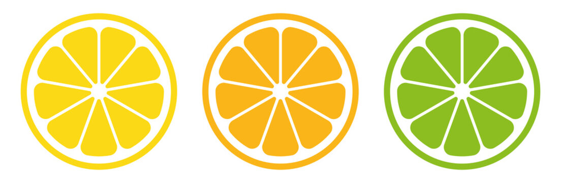 Citrus slice set. Lemon slice. Orange slice. Lime slice. Vector illustration