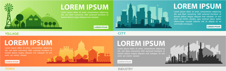 Abstract stylish cityscape infographics. Infographics elements collection with town, city, farm and industrial districts Fototapete