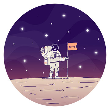 Astronaut planting flag on moon flat concept icon. Male cosmonaut wearing spacesuits, making peace sign with hand sticker, clipart. Planet landing isolated cartoon illustration on white background