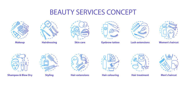 Beauty services concept icons set. Beauty salon, SPA skin care procedures idea thin line illustrations. Hairdresser and makeup. Blue gradient vector isolated outline drawings. Editable stroke
