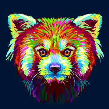 Red Panda. Graphic, abstract, hand-drawn portrait of a Red panda on a dark blue background.