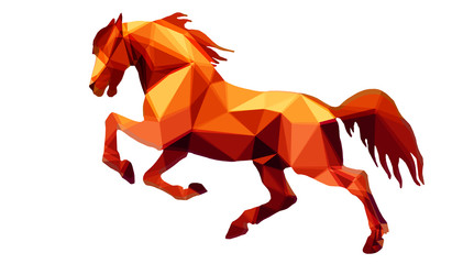 amber color, prancing horse,  isolated image on a white background in the style of low Poly