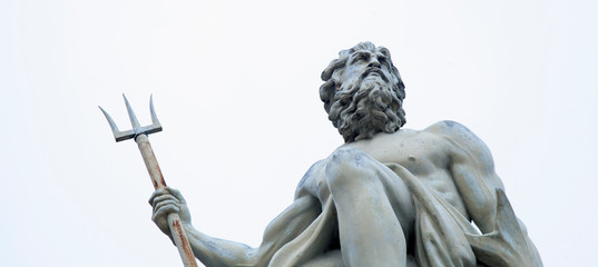 The mighty god of the sea and oceans Neptune (Poseidon) The ancient statue.