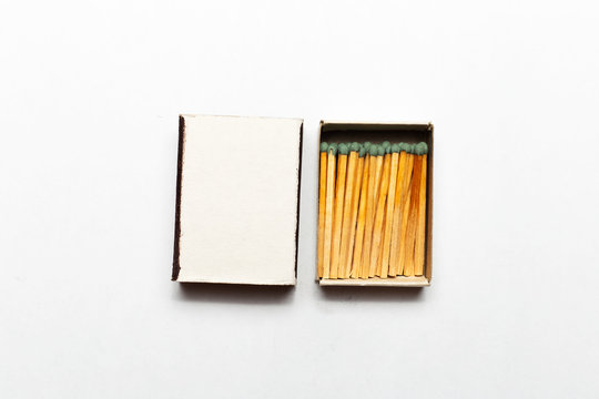 Close-up of opened matchbox with mockup.