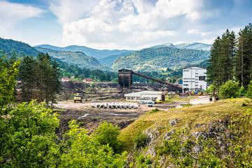 Miljevina, Bosnia and Herzegovina - July 19, 2019. Brown coal mine near Foca