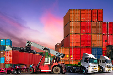 Industrial logistics and transportation of truck in Container yard for logistic and Cargo business plane.-image