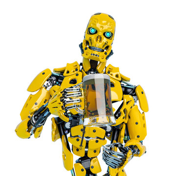 yellow bee android holding a tankard front view