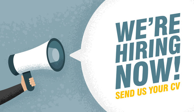 Hand holding Megaphone. Speech sign text we are hiring now. Send us your cv. Vector illustration