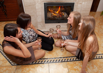 friend sitting beside the fireplace I will place conversing