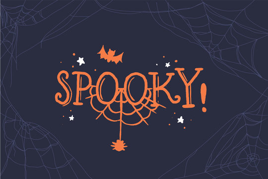 Spooky lettering. Halloween party design element, text banner, vector. Vector template. Black background.