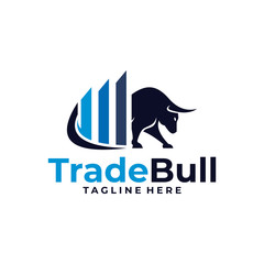 trade bull logo icon vector