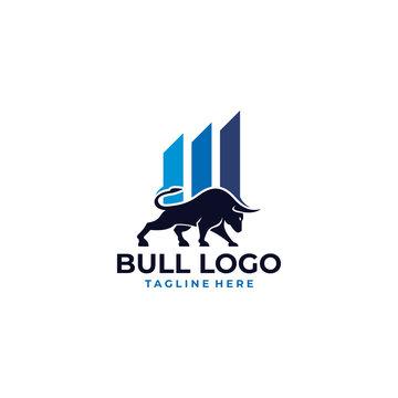 trade bull logo icon vector