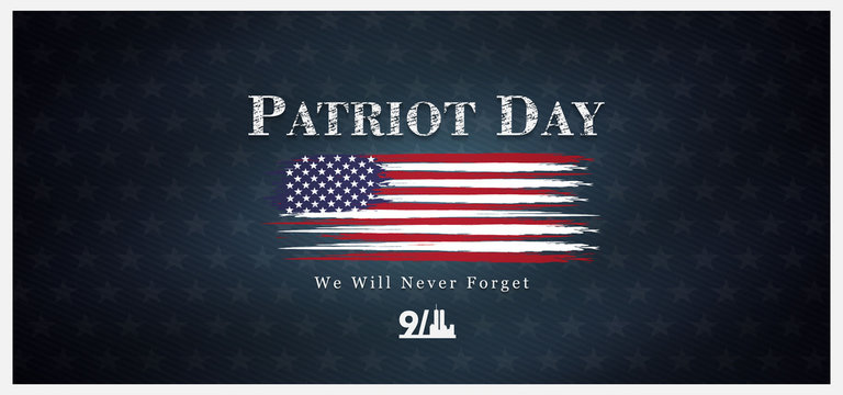 September 11, patriot day background, we will never forget, united states flag posters, modern design vector illustration