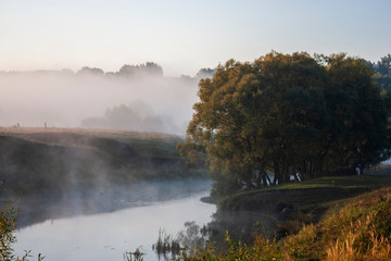 View of the river in the fog. Early morning on the Don river near the village of Monastyrshchino....