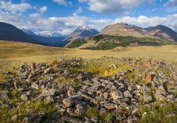 Poster Hill Scythian mound in the Altai mountains