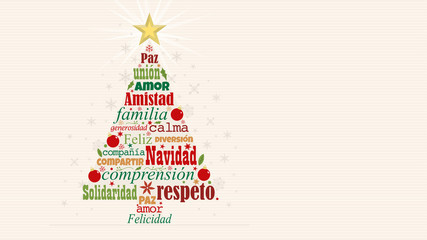 Greeting card with red and green words in Spanish language forming a Christmas tree with a bright star on the tip on a white background with snowflakes. Word Cloud design.