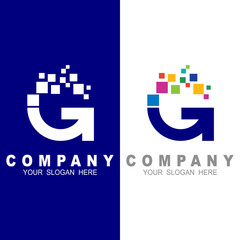 G logo with  pixel motion, colorful icon vector, technology logo, work logo, developer icon, digital, computer