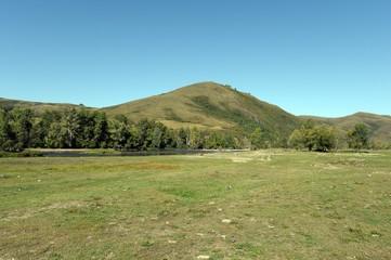 Landscape near the river Inya in the Altai region