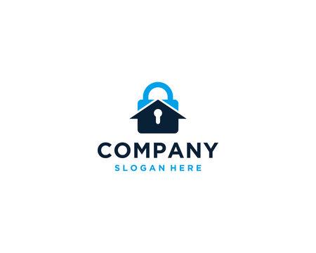 Home padlock security logo design template