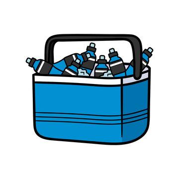 Cartoon Power Drinks in Cooler Illustration